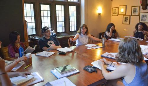 "Class during the  ""Citizens, Thinkers, Writers: Reflecting on Civic Life,"" (CTW) a residential summer program"